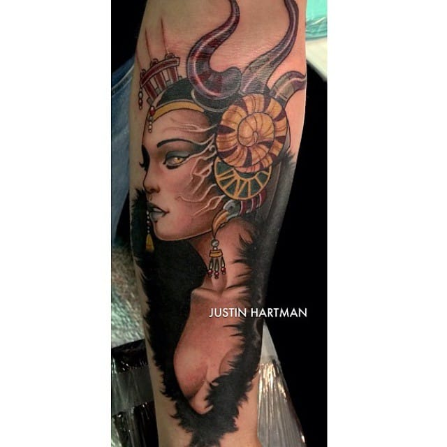 Gorgeous neo traditional portrait of Edea by Justin Hartman...