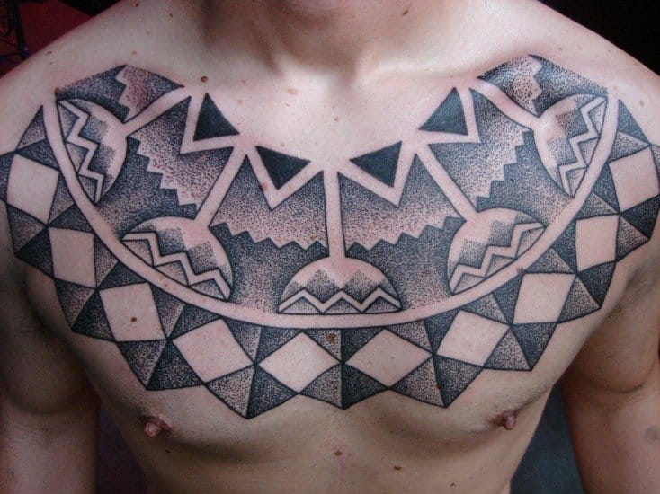 Great pectoral tattoo by Daniel DiMattia!