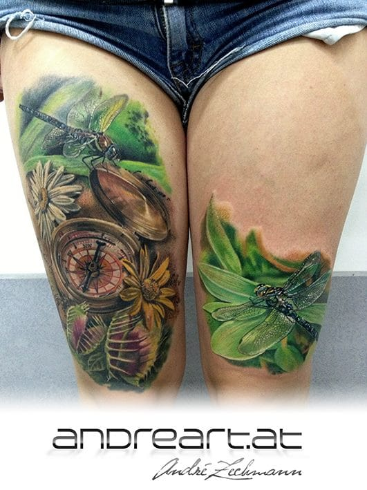 Impressive thigh pieces by André Zechmann! #dragonfly #dragonflytattoos #tattooideas #wingedinsects