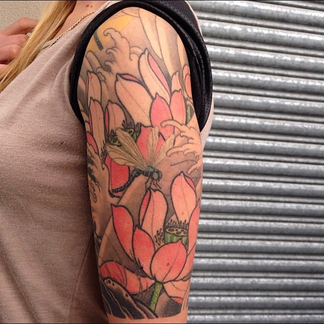 Lovely half sleeve inspired by Japanese traditional tattoo by Brett Hayes. #dragonfly #dragonflytattoos #tattooideas #wingedinsects