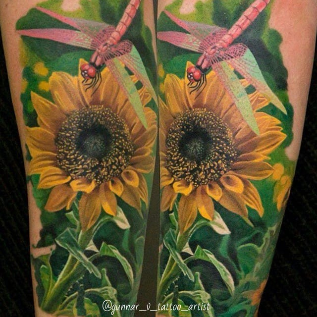 Impressive Nature tattoo by Gunnar V... #dragonfly #dragonflytattoos #tattooideas #wingedinsects
