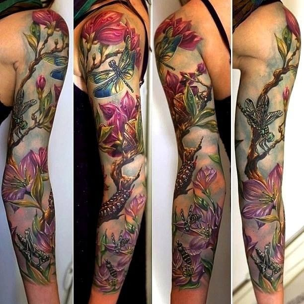 This sleeve by Rom Azovsky is amazing... #dragonfly #dragonflytattoos #tattooideas #wingedinsects
