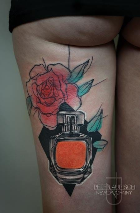 15 Luxurious Perfume Bottle Tattoos