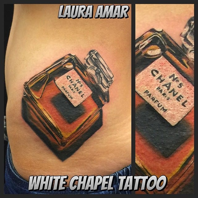 Incredible 3D tattoo of iconic n°5 of Chanel by Laura Amar...