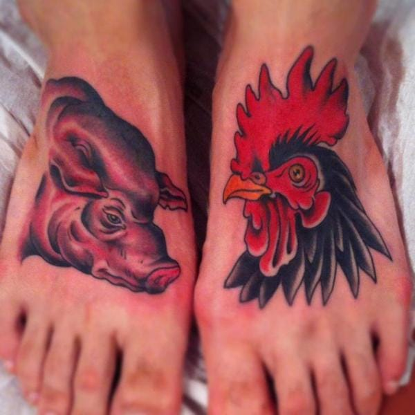 The Pig and Rooster Tattoo, artist unknown
