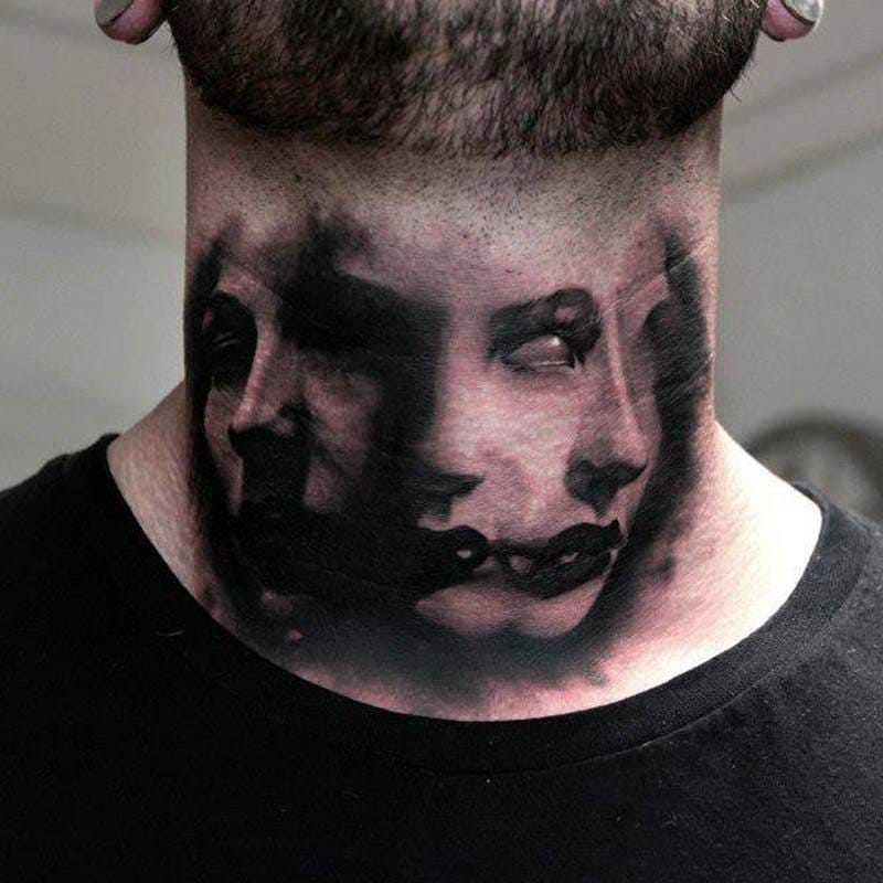 Nightmarish throat tattoo... By Bacanu Bogdan.