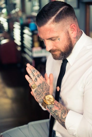 Tattoo artist Luke Wessman showing the perfection that is a shirt alongside tattoos!