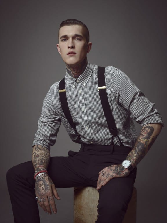 Fashion model Jimmy Q rocking his sleeves and braces!