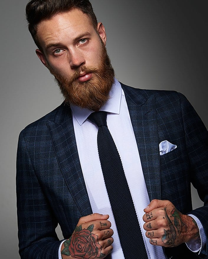 Model Billy Huxley rocking the suit and tattooed look!