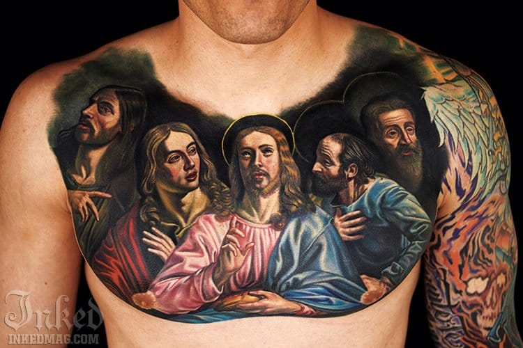 A Tattoo of Christ together with some of the Apostoles done by Nikko Hurtado