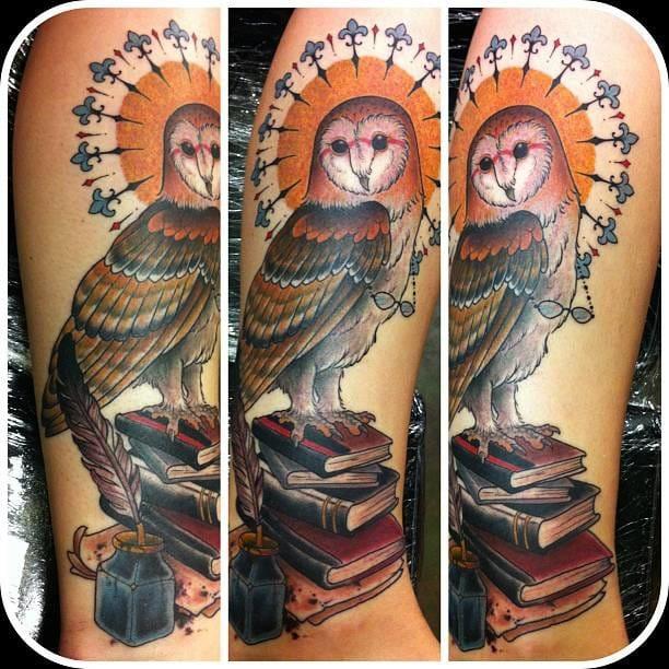 Owl tattoo by Joey Ortega