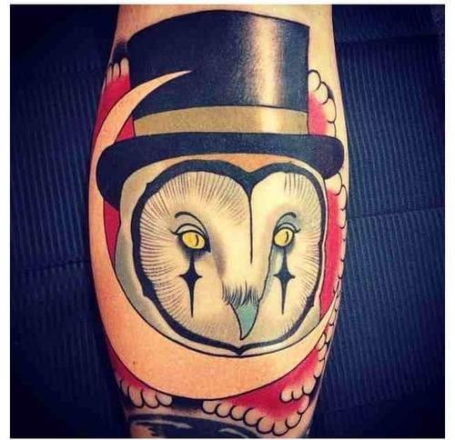 Artsy owl tattoo