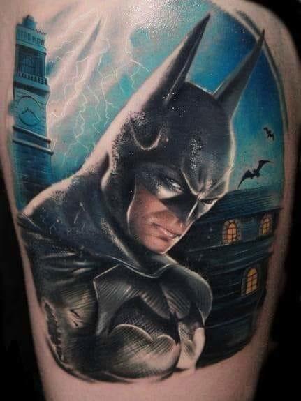 Homem-morcego de prontidão na cidade por Alex de Pase
