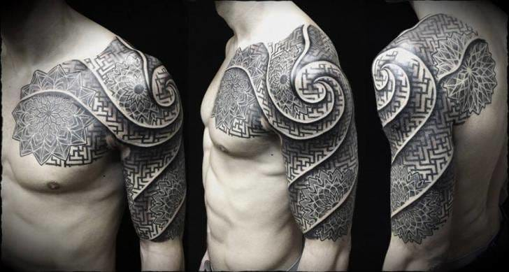 beautiful dotwork tattoo streching from chest, shoulder to arm. By Ivan Hack #dotwork #mandala #geometry #geometric