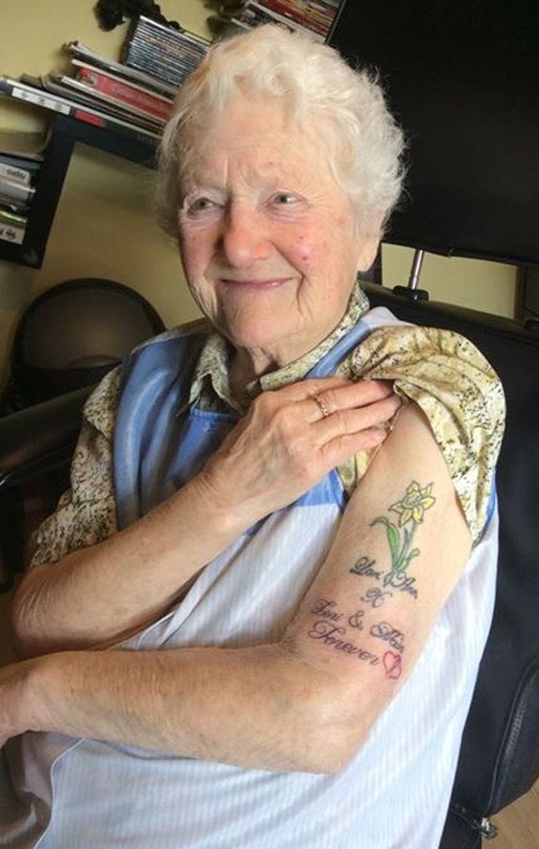 Gwladys proudly displaying her record breaking ink!