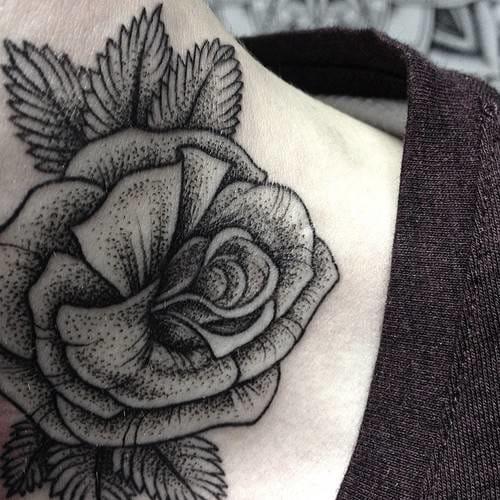 Beautiful neckpiece. Dotwork tattoo, artist unknown #rose #flower #dotwork #detail