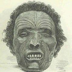 Uma das cabeças de um guerreiro Maori trazida até a Inglaterra