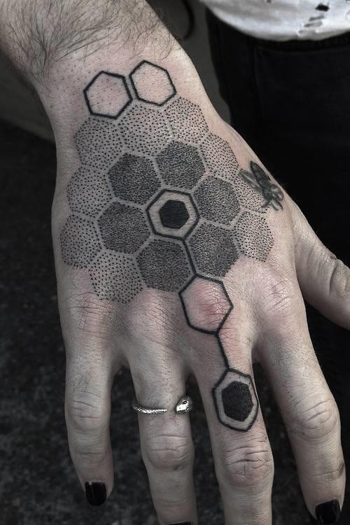 Beehive inspired dotwork tattoo. Artist unknown #beehive #dotwork #bee