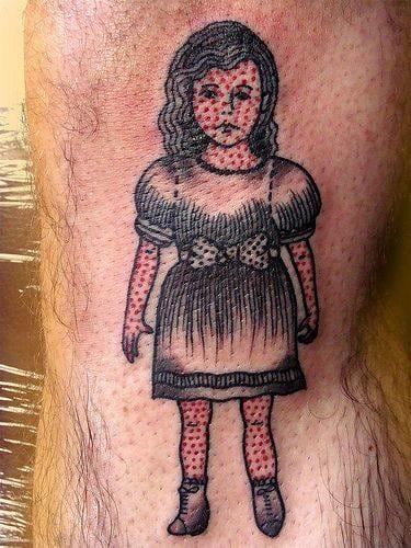 Red and black dotwork tattoo. Artist unknown #dotwork #redandblack