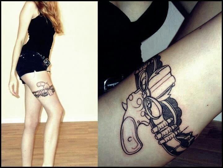 gun tattoo, unknown artist