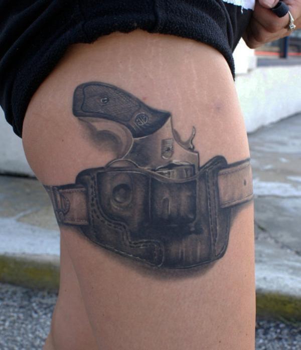 unknown artist, gun tattoo