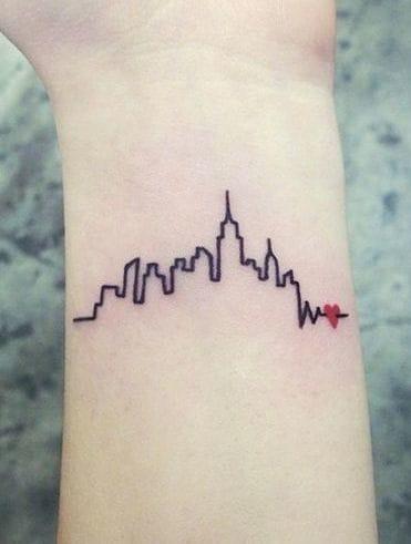 Skyline into heartbeats tattoo