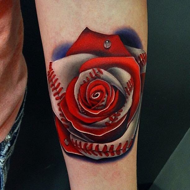 Great baseball themed rose morph tattoo by Andres Acosta...