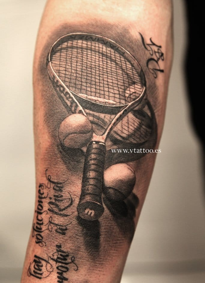 Terrific tennis tattoo by Miguel Bohigues!