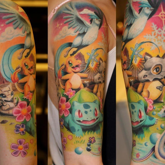 Colorful half sleeve by Polly Pepper.