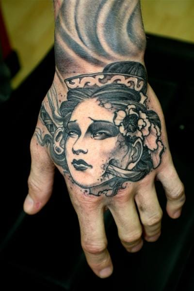 Geisha Hand Tattoo by Dagger & Lark Tattoo