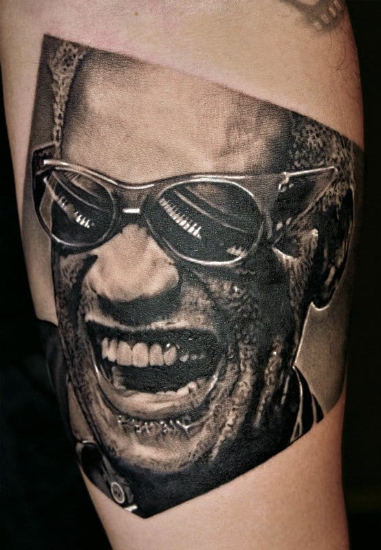 Portraits of the blues awesome blues musician tattoos for Stevie ray vaughan tattoo