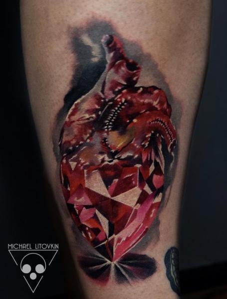 Diamond Heart Tattoo by Michael Litovkin