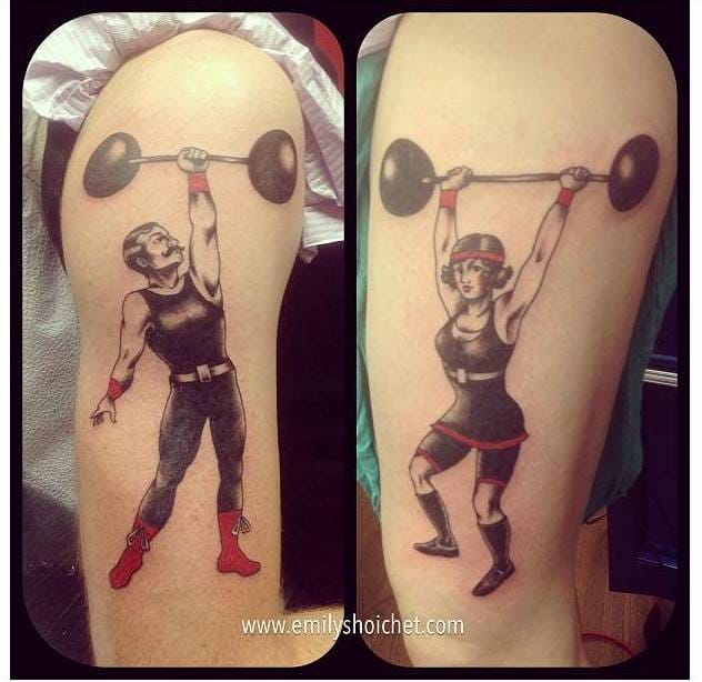 It's better in couple! Cool matching fitness tattoos by Emily Shoichet.