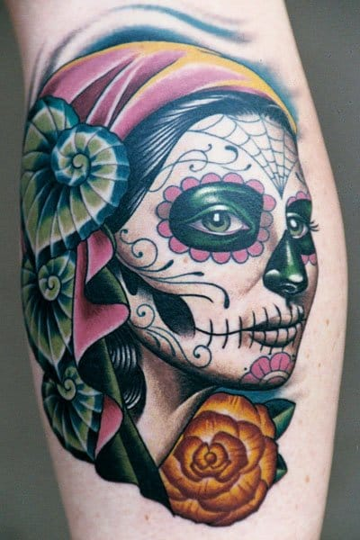 45 gorgeous day of the dead women tattoos tattoodo