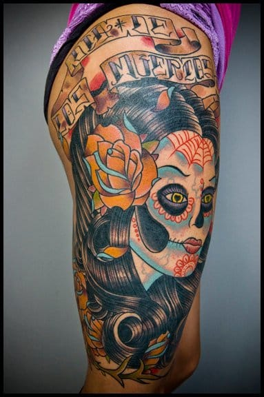 45 gorgeous day of the dead women tattoos tattoodo for Tattoo nightmares shop location