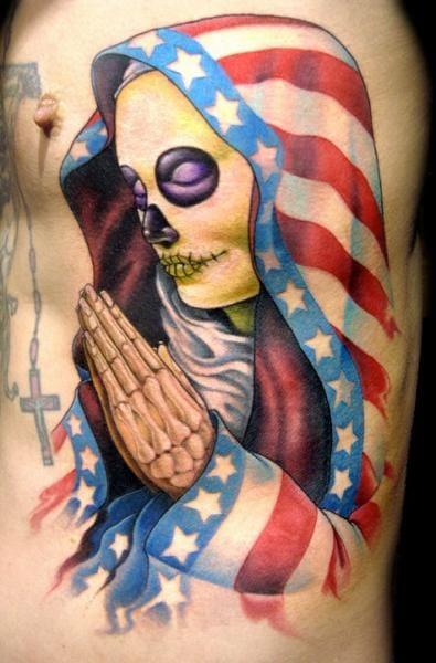 Flag skull by Club Tattoo