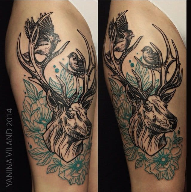 Beautiful Flowers, Stag with Birds By Yanina Viland