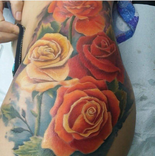 Flower hip tattoo