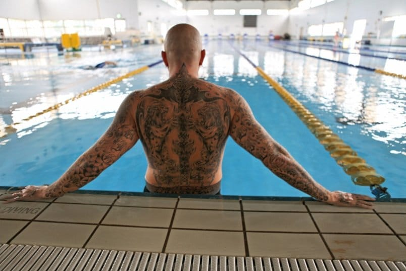 Military personal Mike Lilly is unable to enter water parks in Japan because of his ink!... picture by GRANT OKUBO/STARS AND STRIPES