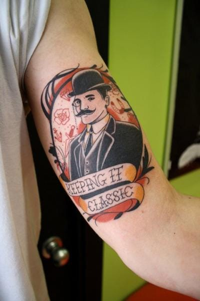 Old School Men Tattoo by La Dolores Tattoo