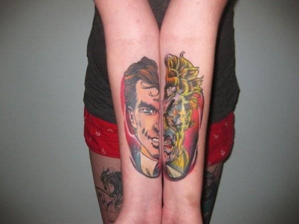 50 amazing connecting tattoos tattoodo for Two faced tattoo