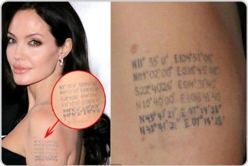 Angelina Jolie Birth Coordinates tattoo