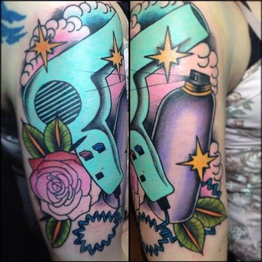 Blow dryer? Hair spray? Tattoo by Stef Neale, Distinktive Tattoos, Toronto.