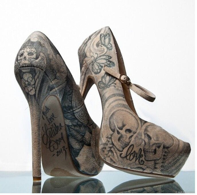 Tattoo-inspired shoes with skulls