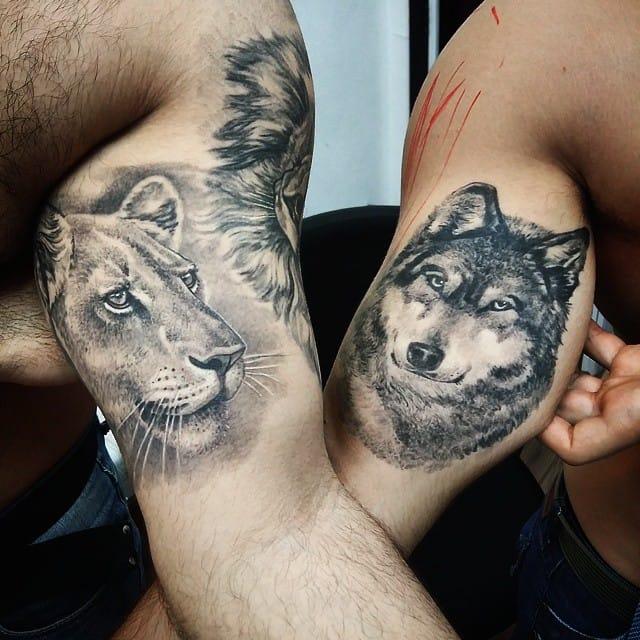 Leoa e Lobo feitos por Dallier