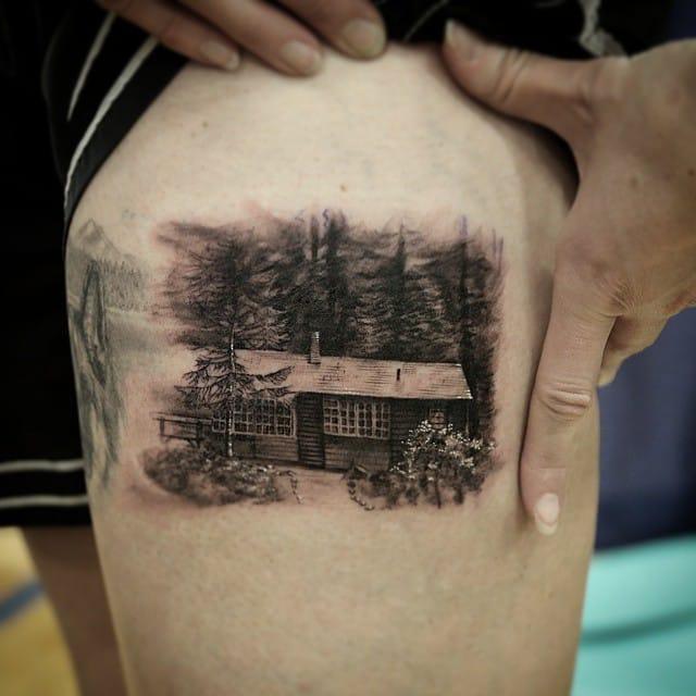 Awesome forest scene tattoo by Stéfano Alcántara