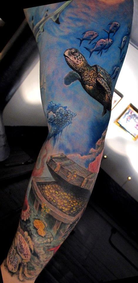 Ocean world tattoo