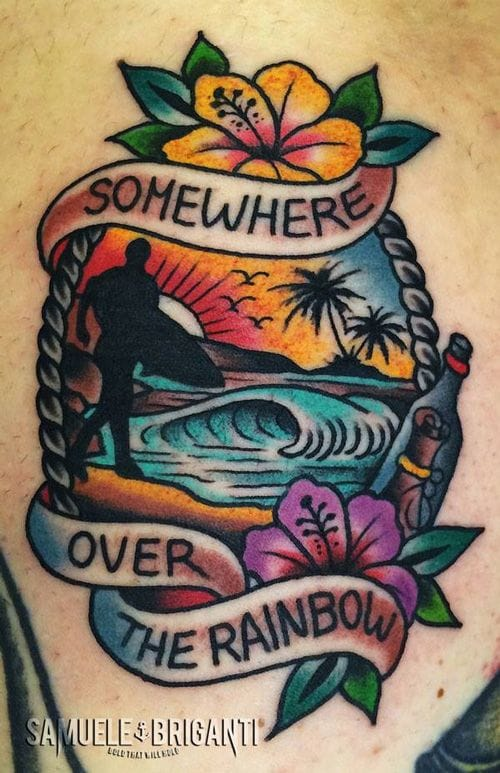 Somewhere over the Rainbow lies HOPE! <3 Beautiful scenic tattoo by Samuele Briganti.