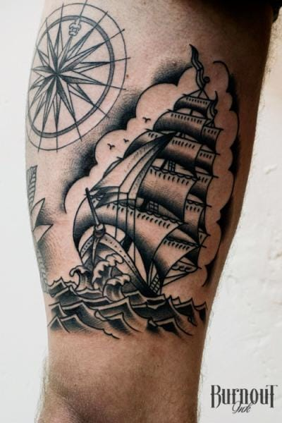 25 Traditional Black and Grey Tattoos | TattoodoOld School Battleship Tattoos