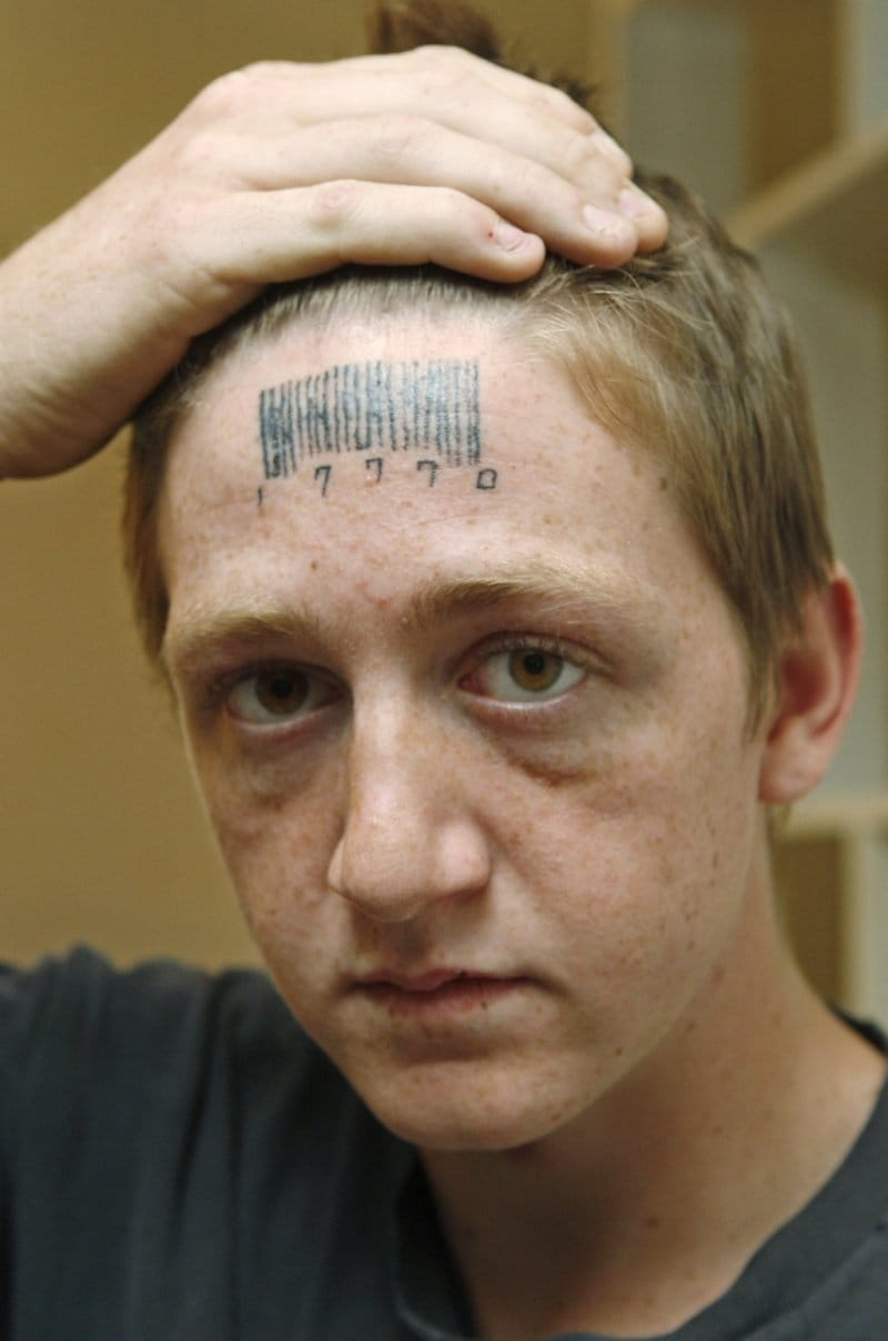 Forehead barcode tattoo